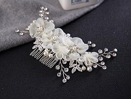 Musuntas Handarbeit Eleganter Retro elegant Damen Blumen Braut Kamm Perlen Strass Hochzeit Brautschmuck Braut Haarschmuck Str