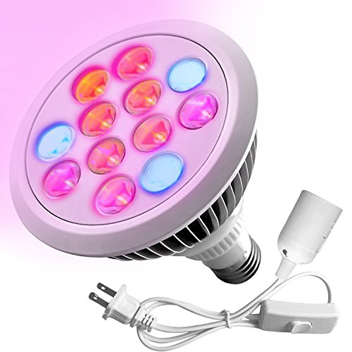 Premium LED Grow Light Bulb, High Efficient Hydroponic Grow Light for Plant, Greenhouse, Indoor Garden (12W) - With Free Extension Lamp Plug