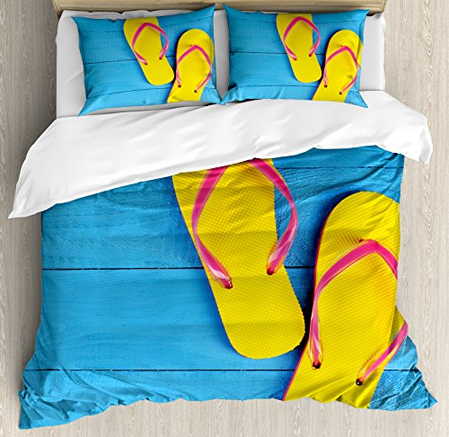 Ambesonne Yellow and Blue Duvet Cover Set, Flip Flops on Wooden Pier Cheerful Holiday Travel Relax Image, 3 Piece Bedding Set with Pillow Shams, Queen/Full, Blue Pink