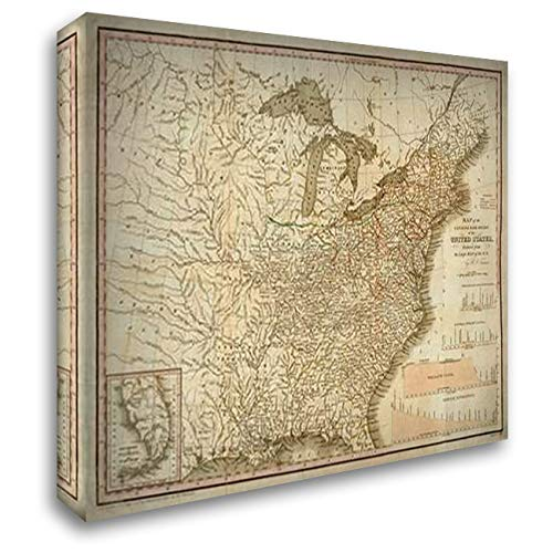 (A Connected View of The Whole Internal Navigation of The United States, 1830 48x36 Extra Large Gallery Wrapped Stretched Canvas Art by Tanner, Henry)