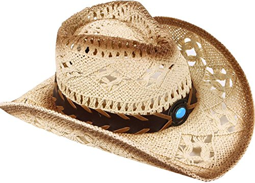 Men's & Women's Western Style Cowboy / Cowgirl Straw Hat with Bull  Big Bead Band - Beige