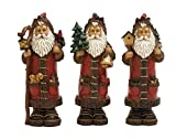 Plutus Brands 3 Assorted Country Side Themed Santa Figurine