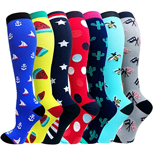 1/3/6/7 Pairs Compression Socks for Women&Men (20-30mmHg)- Best for Running, Travel,Cycling,Pregnant,Nurse,Edma