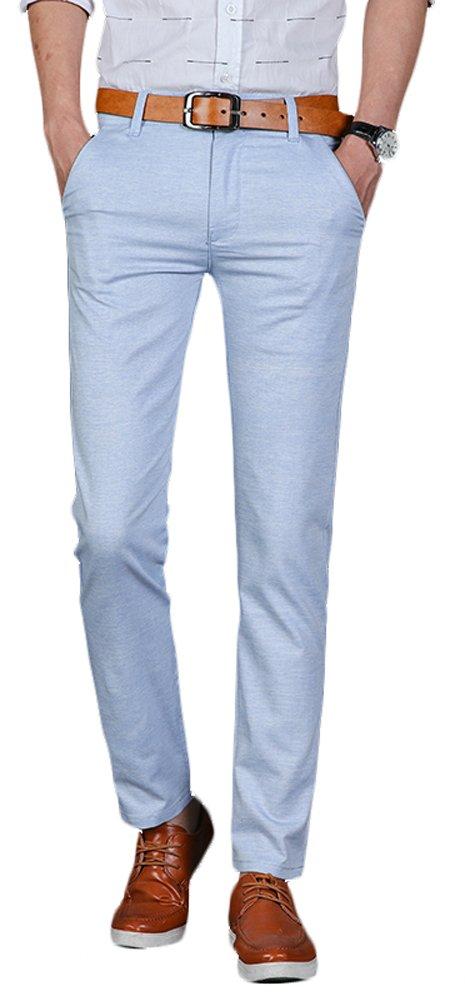 Plaid&Plain Men's Linen Pants Summer Pants Men's Lightweight Pants 7581Blue 30
