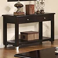 Monarch Specialties Veneer Sofa Console Table with 2-Drawer, Walnut