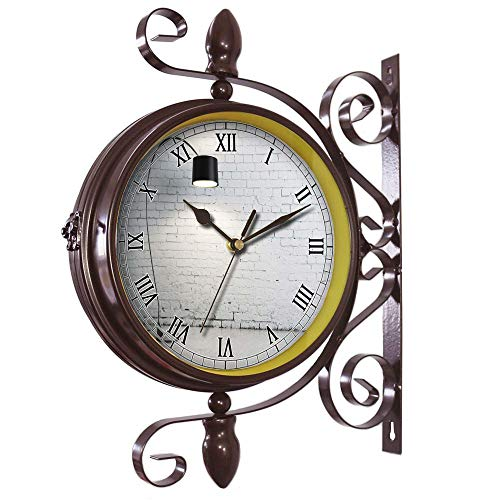 girlsight Wrought Iron Antique-Round Clock Wall Retro Station Chandelier Double Sided Wall Clock -360 Degree Quiet Grand Central Station Wall Clock617.Turned on Black Torchiere Lamp (Floral Torchiere)