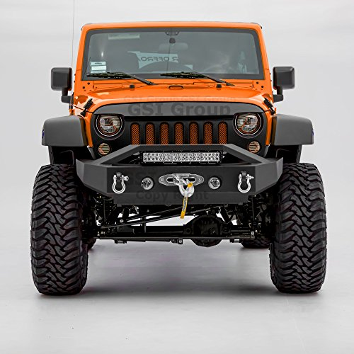 GSI Black Textured Rock Crawler Stubby Front Bumper w/OE Fog Light Hole,Built-In 21