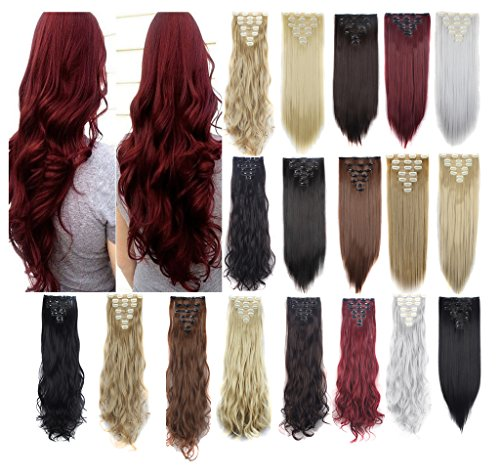 Haironline 3-5 Days Delivery 7Pcs Double weft Clip in Synthetic Hair Extensions 23
