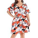 Women Puffy Swing Mini Dress - Ladies Floral Print V Neck Ruffle Half Sleeve Plus Size Flare Dresses - Elegant Prom Party Clothes (XL, Orange)