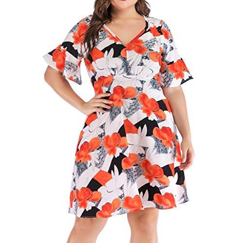 ℱLOVESOOℱ 2019 Fashion Plus Size Dress for Women Casual High Waist V-Neck Short Sleeve Print Mini Dress Holiday Beach Dress Orange
