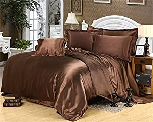 LINEN BEDDING Ultra Soft Luxurious Satin 3-Peice Duvet Set Super Silky Vibrant Comes with Twin/Twin XL, Chocolate