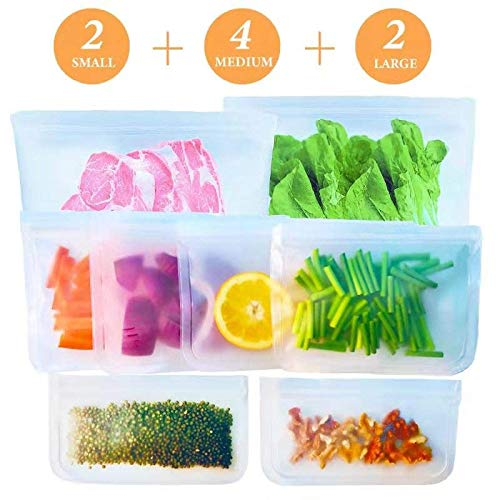 Reusable Storage Bag- 8 Pack BPA FREE Freezer Bag(2 Reusable Gallon Bag + 4 Leakproof Reusable Sandwich Bag + 2 THICK…