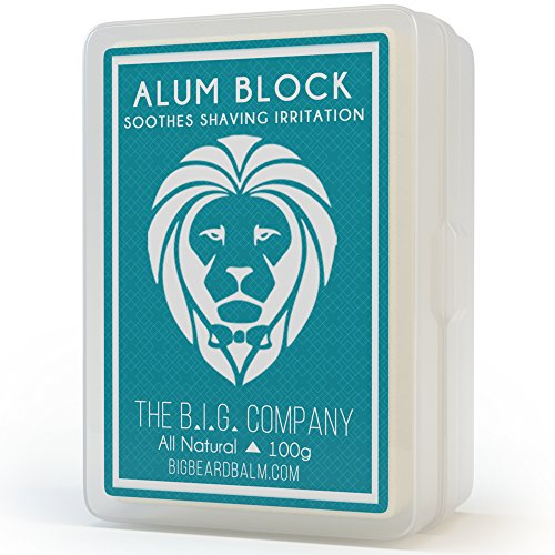 Large Alum Rock in Storage Case - Soothing Aftershave Astringent to Close Pores - Alum Stone Helps Stop Bleeding from Nicks and Cuts - Comes with Shaving Guide - The B.I.G. Company ()