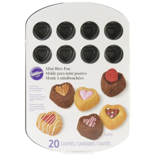 Wilton 2105-2588 Bite Sized 20-Cavity Heart Dessert Shell Pan