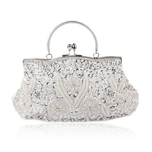 AYOZEN Collection Antique Floral Seed / Bead / Sequin Soft Clutch Evening Bag, Exquisite Seed Bead Sequined Leaf Evening Clutch Handbag, Gift Ideas  Colors Various