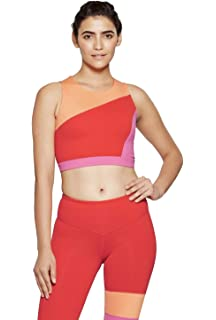 fcb452ef57b JoyLab Women's Premium High Neck Sports Bra with Back Mesh - Cantaloupe  Orange -