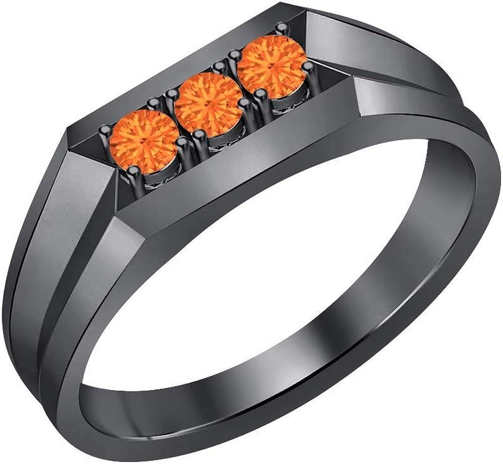 RUDRAFASHION 14k Black Gold Plated Round Cut Orange Sapphire 925 Sterling Silver Mens Anniversary Band Ring