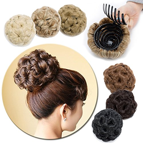 Scrunchy Updo Wavy Straight Hair Bun Drawstring Clip Claw Messy Donut Chignons Synthetic Hairpiece Hair Extension (dark black-claw) ()
