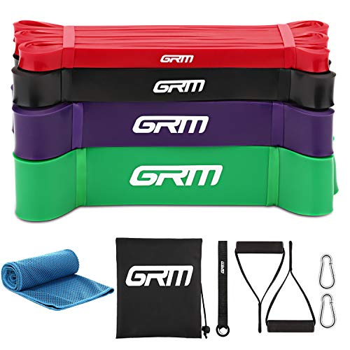 GRM Exercise Bands Pull up Assist Bands Stretch Resistance Bands Mobility & Powerlifting Bands with Handles and Door Anchor for Power Training