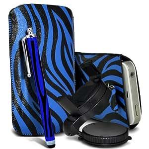 Samsung I9190 Galaxy S4 mini Protección Premium de Zebra PU tracción Piel Tab Slip Cord En cubierta de bolsa Pocket Skin rápida Con Large Matching Stylus Pen, cargador de coche USB Micro 12v y 360 Sostenedor giratorio del parabrisas del coche cuna Azul y Negro por Spyrox