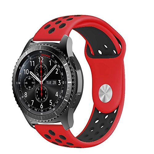 22mm Silicone Spor Band with Ventilation Holes for Samsung Gear S3 Frontier/Classic, Moto 360 2nd Gen Men's 46mm etc - Red/Black ()