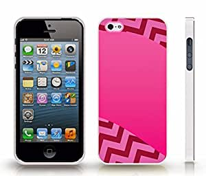 iStar Cases? iPhone 4 Case with Chevron Pattern Gradient Fuchsia Pink Stripe , Snap-on Cover, Hard Carrying Case (White)