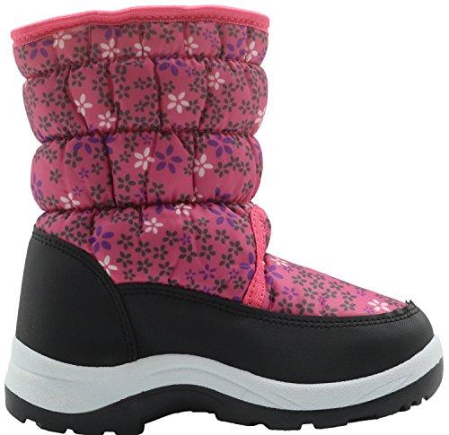 Apakowa Kinder Schneestiefel Warm Gefütterte Winterstiefel Winter Winterschuhe Snowboots für Mädchen (Color : Pink, Size : 4 UK/22 EU)