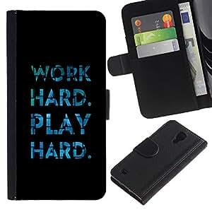 Paccase / Billetera de Cuero Caso del tirón Titular de la tarjeta Carcasa Funda para - Play Hard Work Black Blue Tiles Inspiring - Samsung Galaxy S4 IV I9500