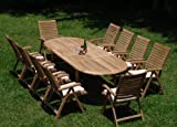 New 11 Pc Luxurious Grade-A Teak Dining Set – 117″ Oval Table And 10 Ashley Reclining Arm Chairs #WHDSASh Review