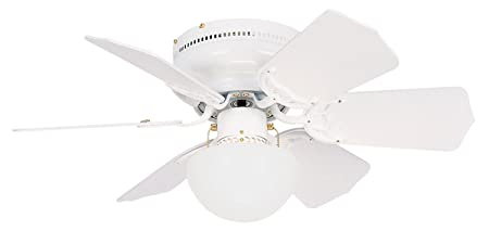 Litex BRC30WW6L Vortex 30-Inch Ceiling Fan with Six Reversible White Whitewash Blades and Single Light kit with Opal Mushroom Glass