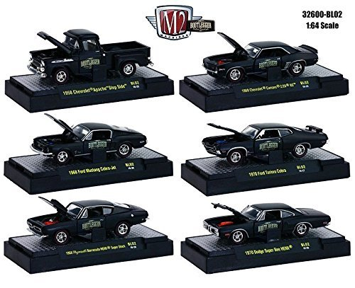 NEW 1:64 M2 MACHINES COLLECTION - MATTE BLACK BOOTLEGGER RELEASE BL02 IN ACRYLIC CASES Diecast Model Car By M2 Machines Set of 6 Cars 1970 Ford Torino Cobra Jet