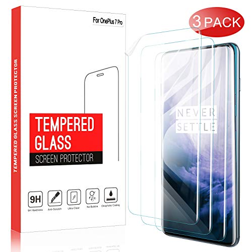 (IVSO 3 Pack Screen Protector for Oneplus 7 pro, Flexible Film,Ultrasonic Fingerprint Compatible,Bubble-Free,Case Friendly Scratch Resistant for Oneplus 7 pro (Transparent))