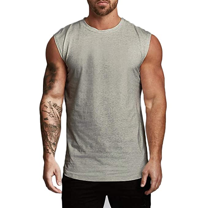 8af06f5c Magiftbox Mens Workout Gym Tanks Muscle Shirts Drop Shoulder Tee T-Shirts  for Running Jogging