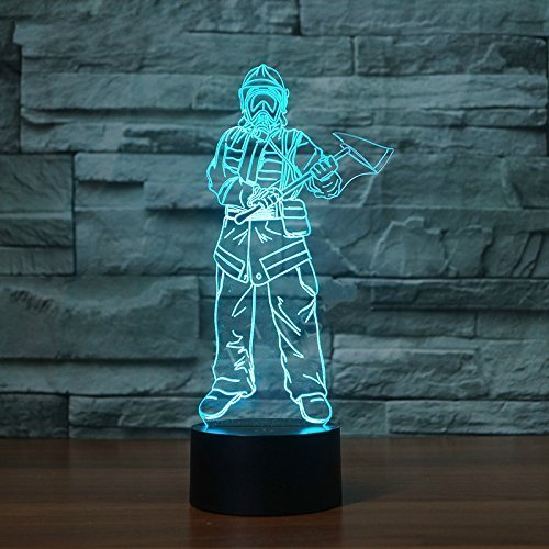 3D Fireman Night Light 7 Color Change LED Table Desk Lamp Acrylic Flat ABS Base USB Charger Home Decoration Toy Brithday Xmas Kid Children Gift