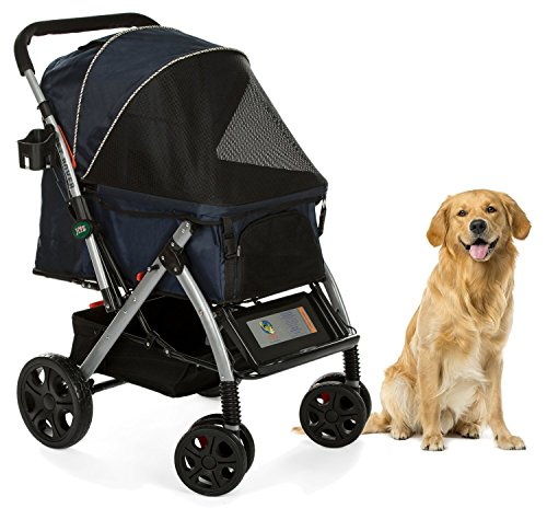 Cheap HPZ Pet Rover Premium Heavy Duty Dog/Cat/Pet Stroller Travel Carriage With Convertible Compartment/Zipperless Entry/Reversible Handle/Pump-Free Rubber Tires for Small, Medium, Large Pets-Midnight Blue