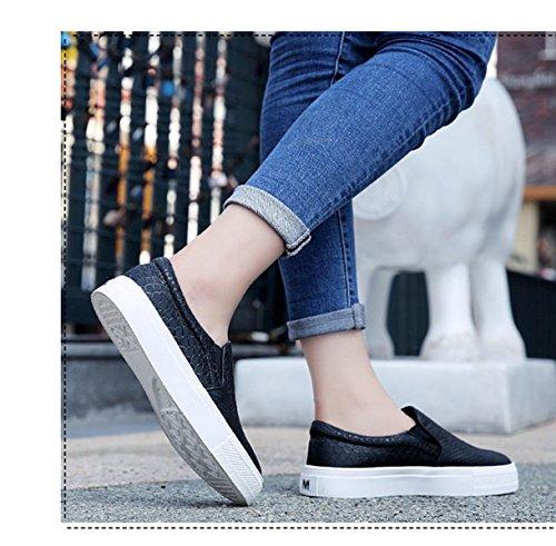 Noir Plat En Jrenok Mode Femme Chaussure Simplicité Loafers Enfiler Talon Mocassin À Cuir XqFqwO7