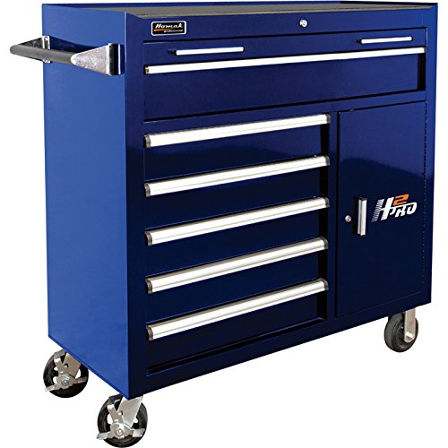 Homak H2PRO Series 41-Inch 6-Drawer with 2-Drawer Compartment Roller, Blue, BL04041062