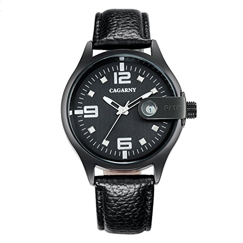 VAXT Aim 6873 Living Waterproof Rung Dial Quartz Movement Alloy Case Fashion Watch Quartz Watches with Leather Band (Color : Black) ()