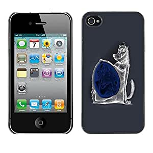 LECELL -- Funda protectora / Cubierta / Piel For Apple iPhone 4 / 4S -- Funny Evil Wolf --
