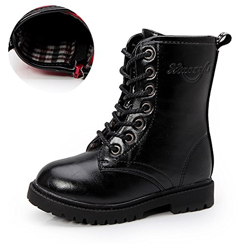 Ausom Boy's Girl's Combat Lace Up Side Zipper Mid Calf Boots Shoes (Toddler/Little Kid/Big Kid)