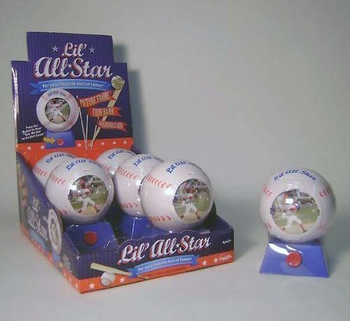 6 Lil' All Star Baseball Musical Picture Frame Coin Bank with Bubble Gum - For your Favourite Hall of Famer   B002ZD89PS