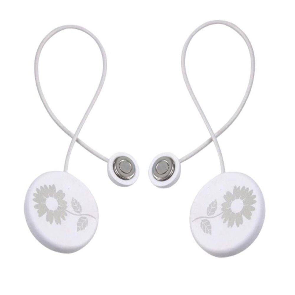 Grace life 2 Pieces-Pack Window Curtain Buckle Tiebacks Clips Classic Round Solid Wood Curtain Magnetic Buckle Butterfly Flower Holdbacks White (Style A)