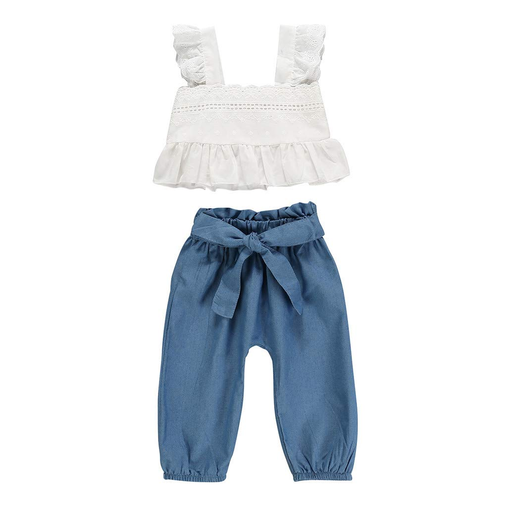 ❤️ Mealeaf ❤️ Toddler Kids Baby Girls Strap Ruffled Lace Tops Bow Denim Pants 2PC Outfits Sets(Blue,80,90,100,110,120)