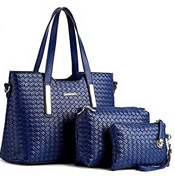 855695b2a27b Amazon.com: Mikash Women 3 Piece Tote Bag Leather Weave Handbag ...