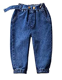 Kidscool Space Elastic Trouser Leg Bottom Two Metle Buttons Decor Fashion Jeans