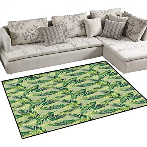 Palm Leaf Area Rugs for Bedroom Jungle Rainforest Pattern Hand Drawn Green Foliage Lush Door Mats for Inside Non Slip Backing 3'x5' Green Pistachio Green Apple Green