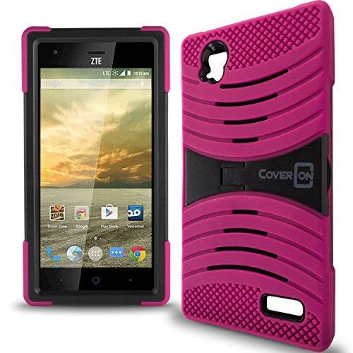 Elite Phone Covers - ZTE Warp Elite Case, CoverON [Titan Armor Series] Dual Layer Silicone + Tough Cover Stand Phone Case For ZTE Warp Elite - Hot Pink & Black