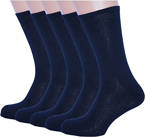 5 Pack Black Dress Socks for Mens Cotton Mid Calf size Large (Sock Size 10-13) Shoe Size 11-12