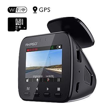 AKASO Cámara de Coche GPS WiFi Cámara para Coche Retrovisor ...