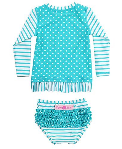 RuffleButts Infant / Toddler Girls Aqua Striped Polka LS Rash Guard Bikini - Aqua/White - 12-18m